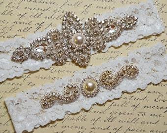 Vintage Inspired Wedding Garter Set, Bridal Garter Set, Off White Lace Garter, Rhinestone Crystal, Joanna Style 10136