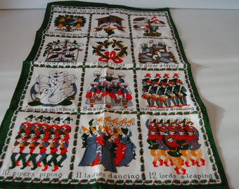 Irish Linen tea towel, the twelve days of christmas.