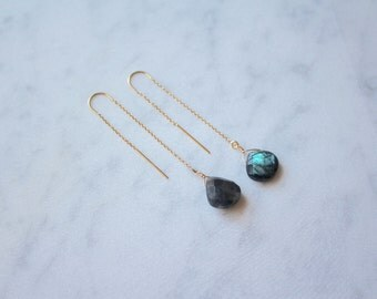Black Labradorite Stone Teardrop Gold Filled Threader Earrings