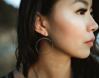 Oxidized Silver Hammered Hoop Earrings
