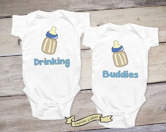 Drinking Buddies Set of Twin Boys Shirt, Twin Onesies® Newborn Twins Baby Boy Twins Baby Gifts Matching Outfits for Twins