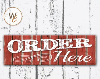 "ORDER HERE Sign, 5.5""x17"" Restaurant Sign, Rustic Red Decor, Cafe Order Sign, Store Sign, Distressed Wood Store Sign, Signs by Woodland Crew"
