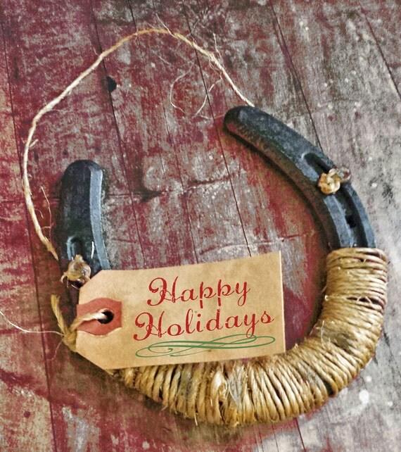 Good Luck Horseshoe Sign Happy Holidays Wall Hanging