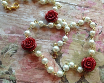 NEW SALE ITEM - Girls White Faux Pearl Necklace with Red Roses, Childrens Necklace, Gift For Her