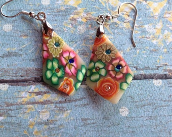 Colorful Earrings with Rhinestones-Oranges, Greens and Pinks, Earrings, Dangle Earrings, Gift Ideas, For Her
