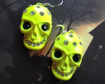 Halloween Jewelry, Halloween Earrings, Yellow Metal Skull Earrings, Sugar Skull Earrings