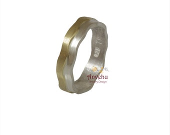 Woman wedding ring Two tone band 14k and sterling silver Mixed metal band Delicate  wedding ring