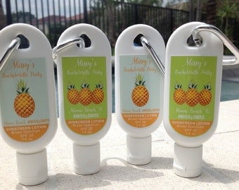 Personalized Bachelorette Party Sunscreen Favor 1oz Or 2oz SPF 30 Pineapple Theme Wedding