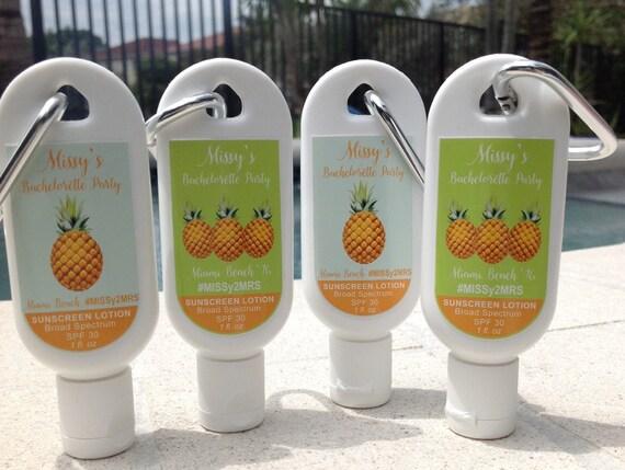 Personalized Bachelorette Party Sunscreen Favor 1oz Or 2oz SPF
