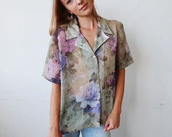 SALE! Slouchy Sheer Pastel Floral Blouse