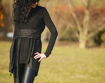 Black Hooded Top, Womens Hoodie, Black Hoodie, Black Minimalist, Long Sleeves Shirt, Tunic Top, Black Shirt, Black Hooded Shirt