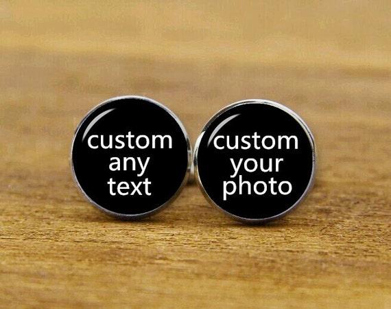 customized any text cufflinks, custom own photo, logo, picture, personalized cufflinks, custom wedding cufflinks, groom cufflinks, tie clips
