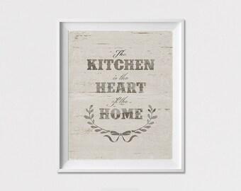 Kitchen wall art, poster, quote inspirational print, Wall Art, The kitchen is the heart of the home, wall decor, Home decor ArtFilesVicky