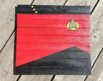 Star Trek, Next Generation, Uniform painting on reclaimed lath wood, Art