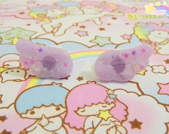 Translucent lilac chibi glitter rings