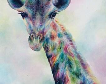 Original Colourful Giraffe Painting