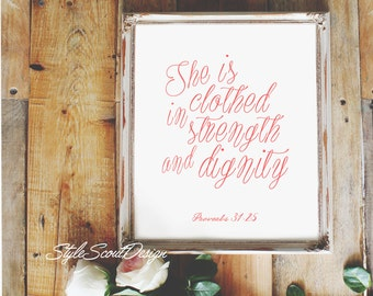 Proverbs Bible Verse wall art - Printable quotes, wall art prints, floral art print,- Proverbs 31:25