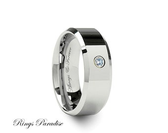 Diamond Tungsten Band His Promise Rings Mens Wedding