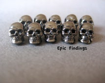 Sale!! 10pc Gun Metal Gray Skull Beads, Spacers, Charms, Loose Beads, Findings, Jewelry Design, Craft Supplies