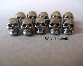 10pc Gun Metal Gray Skull Beads, Spacers, Charms, Loose Beads, Findings, Jewelry Design, Craft Supplies