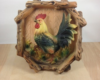 Rustic Rooster,ceramic,Tilso ceramics,Tilso Japan,,Tilso Rooster,faux wood,wall hanging,barnyard,farmhouse,vintage,decor,housewares,