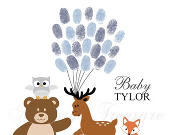 Woodland Animals Baby Shower Guest Book Alternative Forest Animals Baby Shower Woodland Thumbprint Guestbook Forest Fingerprint Guestbook