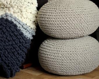 Set of two linen poufs, livingroom poufs, nursery pouf, crochet pouf, organic poufs, natural poufs, ecofriendly furniture, footstool