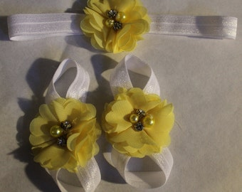 Baby Footless Sandals, Yellow Footless Sandals, Matching Footless Sandals & Headband, Baby Headband, Infant Yellow Headband, Yellow Sandals