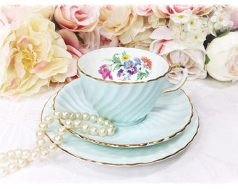 Aynsley English Tea Trio, Powder Blue Floral Bone China English Tea Cup, Saucer, Plate For Tea Time, Tea Party, Wedding. England #A137