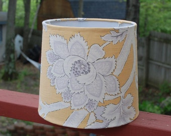 Yellow, white and gray floral lamp shade