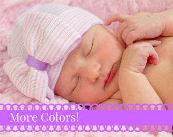 Newborn Hospital Hat, baby beanie with Bow Baby Girl Hospital Beanie with Bow - PINK