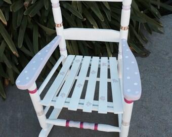 Cottage rocking chair, hand painted kids rocker, child's rocking chair