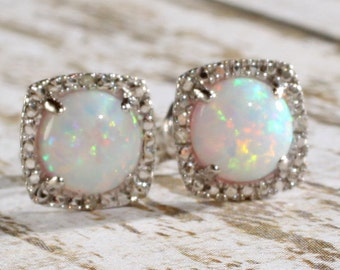 Sterling Silver Created Opal & Diamond Round Halo Style Stud Earrings October Birthstone 1.68 CTW