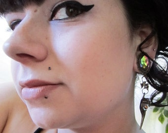 """The Charming Bird Skull dangle stretched EAR PLUGS pick gauges 0g, 00g, 7/16"""", 1/2"""", 9/16"""", 5/8"""", 11/16"""" - 8mm, 10mm, 12mm, 14mm, 16mm, 18mm"""