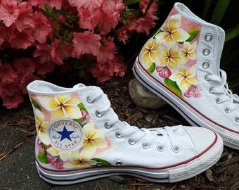 Handpainted Frangipane Flower Shoes