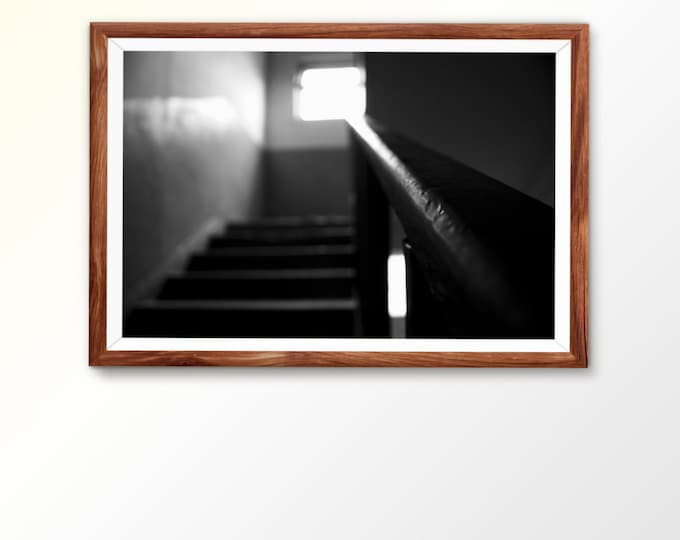 Instant printable download Instant download Fine wallart Abstract photography Old building BW photo Abandoned building Step photo Monochrome
