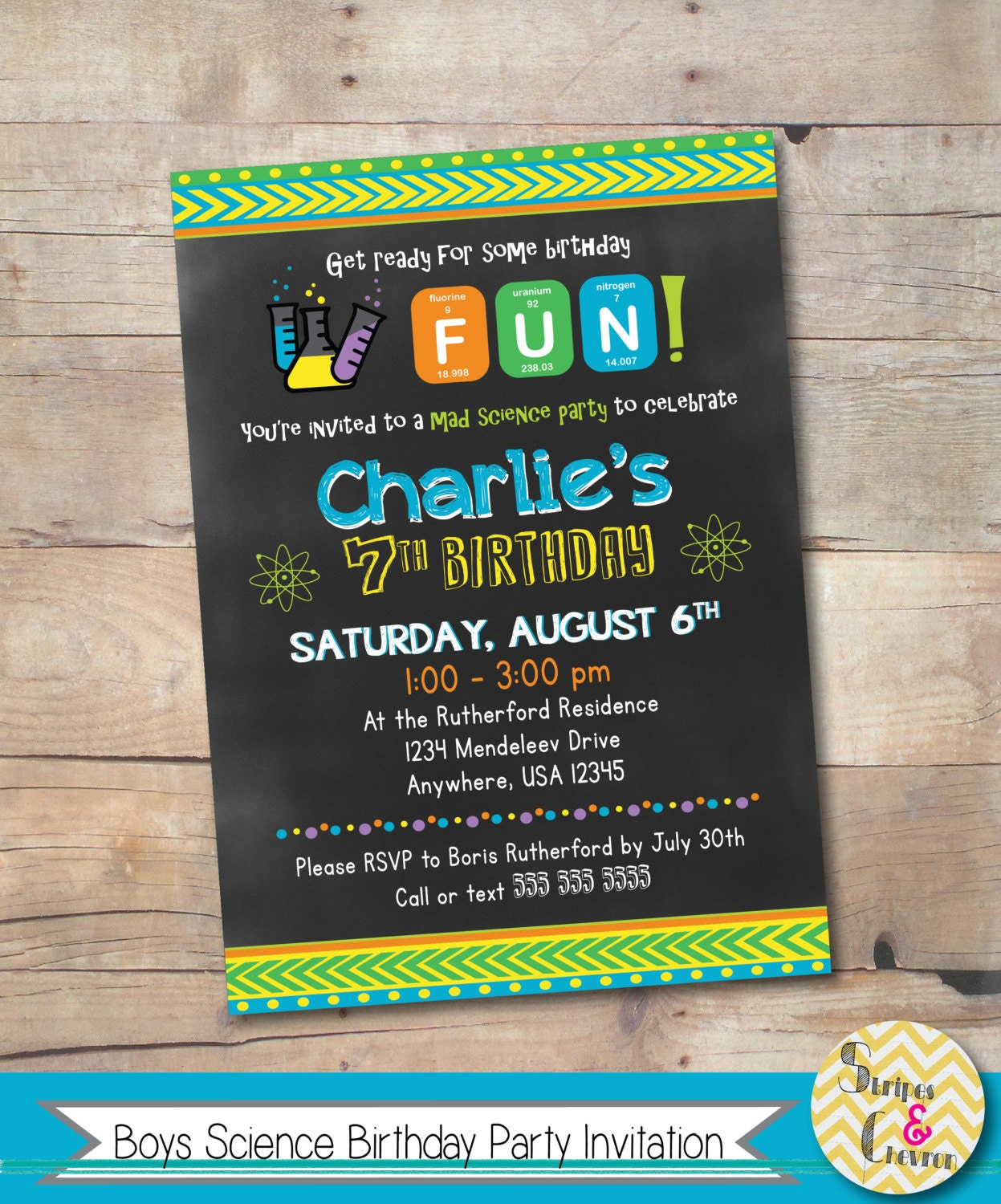 Mad Scientist Party Invite, Printable, Science Party, Science ...