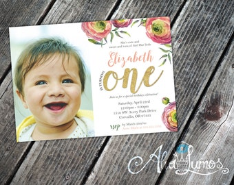 Photo Invitation - Girl 1st Birthday - Photo card invite - pink and gold invite - girl birthday invite - floral first birthday invite