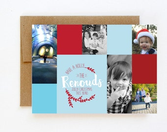 Have a Holly Jolly Christmas Photo Collage Card - photo christmas card - christmas card - photo holiday card - photo card - christmas photo