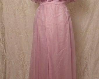 1970s Lavender Ruffled Maxi Dress