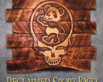 Grateful Dead Steal Your Face, Dancing Panda, FREE UV protector, 30X23, Burnt wall hanging, Shou Sugi Ban, Charred wood, Wood Sports sign