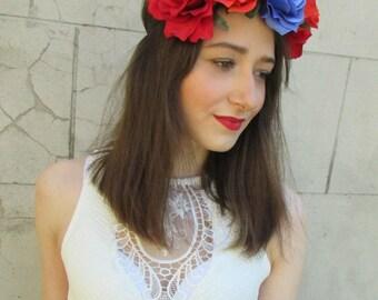Large Blue Orange Red Rose Flower Hair Crown Festival Headband Garland Boho X-44