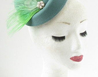 Teal Mint Lime Green Ivory Feather Pillbox Hat Fascinator Hair Clip Races 317
