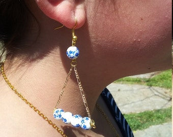 Asian Inspired Triangle Drop Earrings