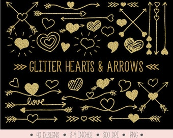 Gold Glitter Hearts and Arrows Clip Art. Valentine's Day Doodle Arrows, Hearts. Hand Drawn Tribal Arrows. Gold Heart & Arrow Clipart (0007)