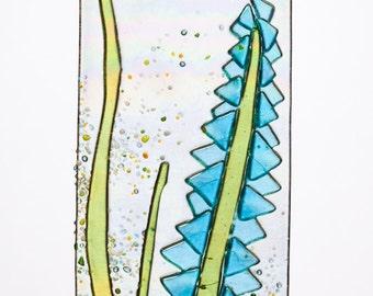 Handmade Aqua Lupine Flowers Spring Suncatcher Ornament on Rainbow Iridescent  Fused Glass