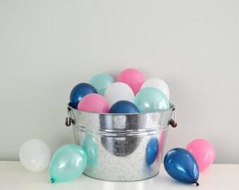 "5"" Mini Balloons - Vineyard Vines Inspiration // 12 Pack // Wedding & Birthday Decor // Small Tiny Latex // Navy Pink Champagne Gold Mint//"