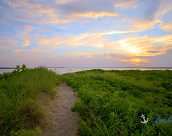 Point Judith Beach Path ~ Point Judith, Rhode Island, Beach, Photography, Wall Art, Nautical, Coastal Decor, Photograph, Artwork, Sunset