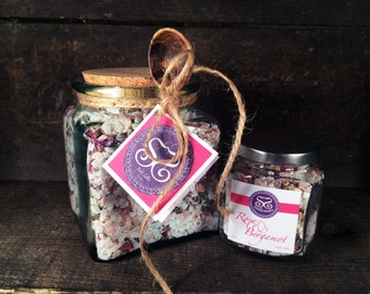 Rose & Bergamot Bath Salt Gift Jar w/Spoon