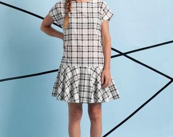 New! Cotton summer dress, mini dress, checkered dress, gift, casual dress, mini summer dress, women dress, sun dress, cotton dress.